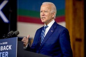 Democratic presidential candidate Joe Biden speaks at a campaign event on July 21, 2020, in New Castle, Delaware.