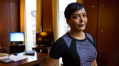 Mayor Keisha Lance Bottoms poses for a photo in her office in Atlanta, Jan. 11, 2018.