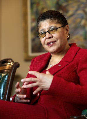Assembly Speaker Karen Bass, D-Los Angeles, discusses the pending vote on the state budget during an interview in her Capitol office in Sacramento, Calif., Saturday, Feb. 14, 2009.