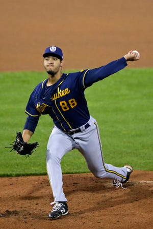 Antoine Kelly (88) throws a pitch at the Brewers' alternate training camp on Tuesday, July 28, 2020, at Fox Cities Stadium in Grand Chute, Wis. Alex Martin/USA TODAY NETWORK-Wisconsin