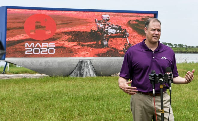 NASA Administrator Jim Bridenstine answers questions from the media during Wednesday's press conference at Kennedy Space Center. Mandatory Credit: Craig Bailey/FLORIDA TODAY via USA TODAY NETWORK