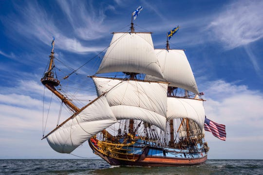 A broadside few of the KalmrNyckel, the official Delaware Tall Ship, sailing in 2019. The ship is closed this summer but may open for tours in the fall.