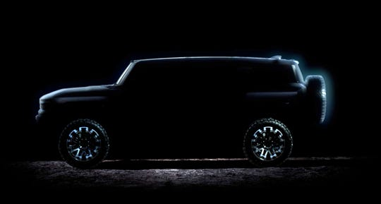 A frame capture from a video introducing the new eagerly awaited Hummer electric sport truck by GM.