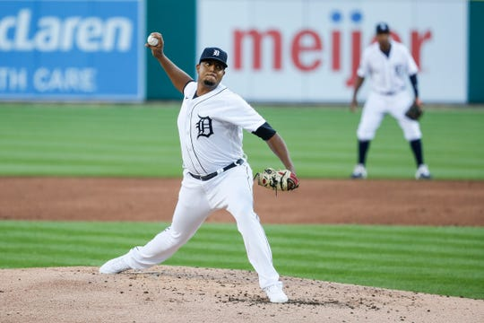 Tigers pitcher Rony Garcia delivers a pitch against the Royals at Comerica Park on Tuesday, July 28, 2020.