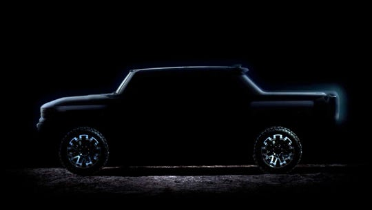 A frame capture from a video introducing the new eagerly awaited Hummer electric pickup by GM.