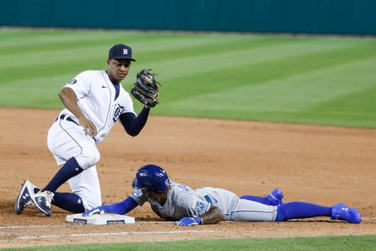 Tigers second baseman Jonathan Schoop tags out the Royals shortstop Adalberto Mondesi during the ninth inning of the Tigers' 4-3 win at Comerica Park on Tuesday, July 28, 2020.
