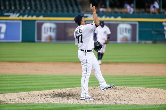 Tigers pitcher Joe Jimenez celebrates after the last strikeout in the Tigers' 4-3 win at Comerica Park on Tuesday, July 28, 2020.