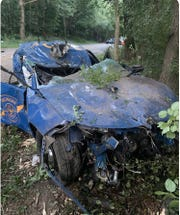The trooper's vehicle that crashed early Wednesday morning in Superior Township. (Michigan State Police)
