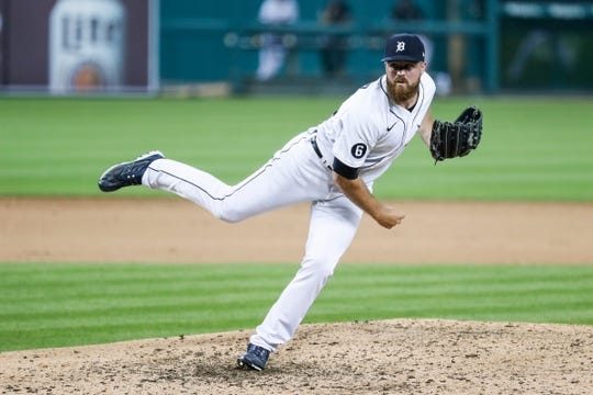 Tigers pitcher Buck Farmer throws against the Royals in the eighth inning of the Tigers' 4-3 win at Comerica Park on Tuesday, July 28, 2020.