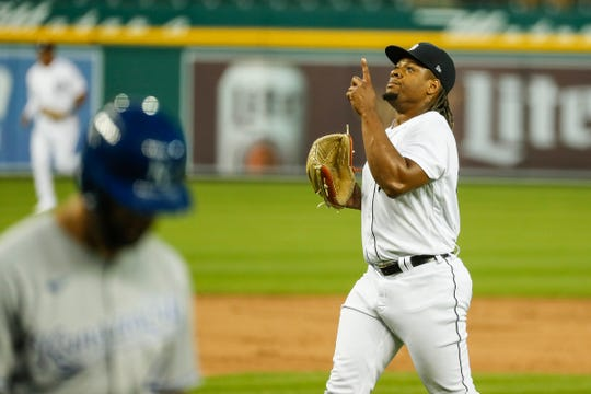 Tigers pitcher Gregory Soto celebrates as he walks off the field after pitching against the Royals during the seventh inning of the Tigers' 4-3 win at Comerica Park on Tuesday, July 28, 2020.