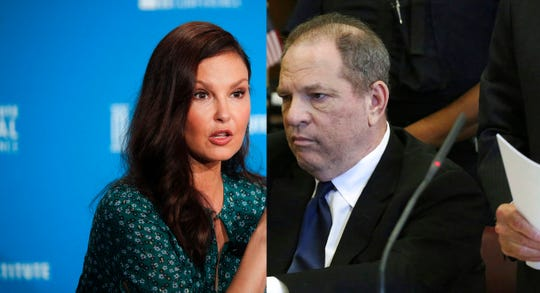 Actress Ashley Judd, left, and Harvey Weinstein.