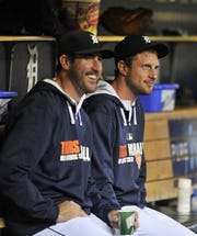 Pitchers Justin Verlander, left, and Max Scherzer formed a strong 1-2 punch atop the Tigers rotation when they were teammates.