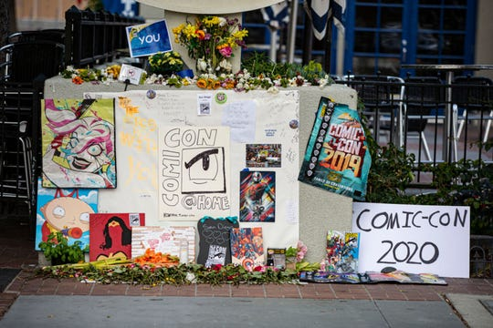 Fans of Comic-Con set up a makeshift memorial on July 22, 2020 in San Diego, California. 2020 Comic-Con International occurred as a virtual event, Comic-Con@Home, this year due to the coronavirus epidemic.
