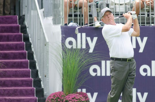 Jay Haas eyes his tee shot on the 17th hole during the Ally Challenge in 2019.