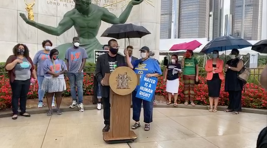 Representatives from dozens organizations gathered at the Spirit of Detroit Wednesday to announce the Detroiters' Bill of Rights.