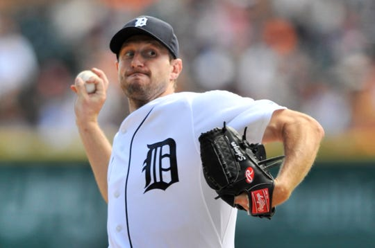 Max Scherzer won 82 games and an American League Cy Young Award in five seasons with the Tigers.