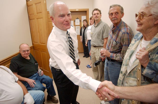 Governor Joe Kernan stopped at both the Central Labor Council as well as The Centre during his trip to Evansville Thursday, Sept. 23, 2004. After arriving at the council, Kernan shook hands with members before making his formal speech.
