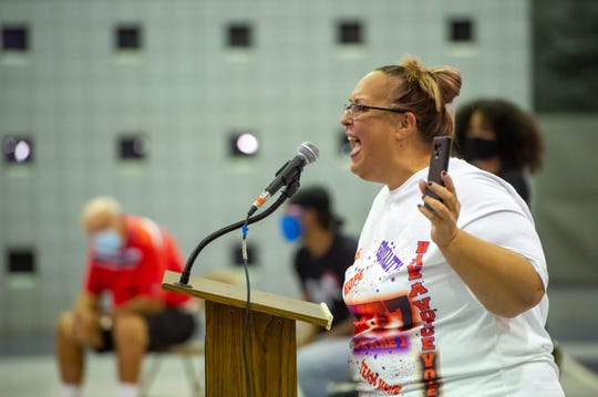 Tara Fogleman-Laxey speaks during Mayor President Josh Guillory Town Hall meeting at the Robicheaux Rec Center. Wednesday, July 29, 2020.