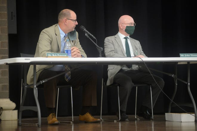Incoming Superintendent Rob Peterson, left, outlined Madison's reopening plan Wednesday for the upcoming school year.