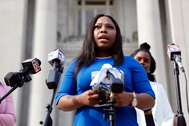 State Sen. Katrina Robinson speaks on Wednesday, July 29, 2020, in Memphis, Tenn., after being charged with theft and embezzlement involving government programs and wire fraud,.