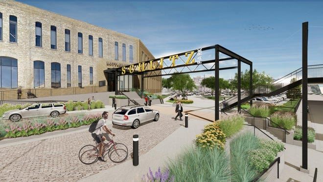 Schlitz Park is doing a $6 million upgrade that includes a new pedestrian plaza between the Bottlehouse and RiverCenter office buildings.