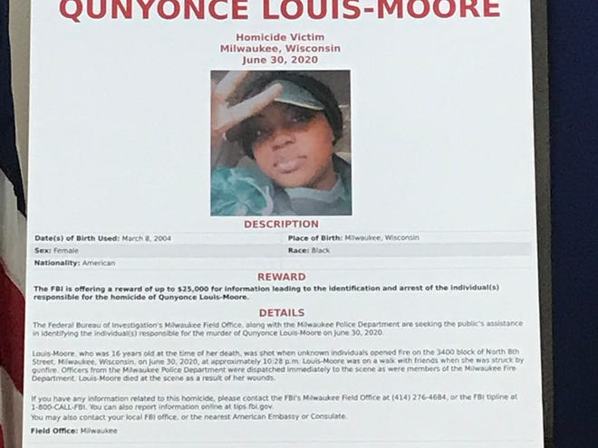 Federal officials on Wednesday announced a reward of up to $25,000 for information leading to the arrest of the person responsible for the shooting death of 16-year-old Qunyonce Louis-Moore.