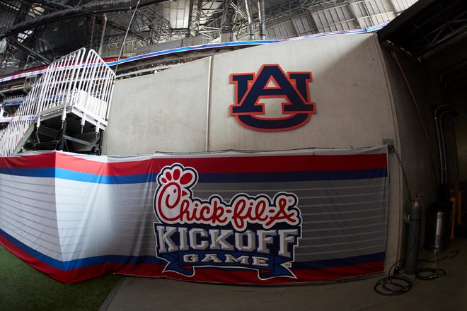 The Auburn logo in Mercedes-Benz Stadium prior to the Chick-fil-A Kickoff Game against Washington at Mercedes-Benz Stadium, Saturday, September 1, 2018, in Atlanta.