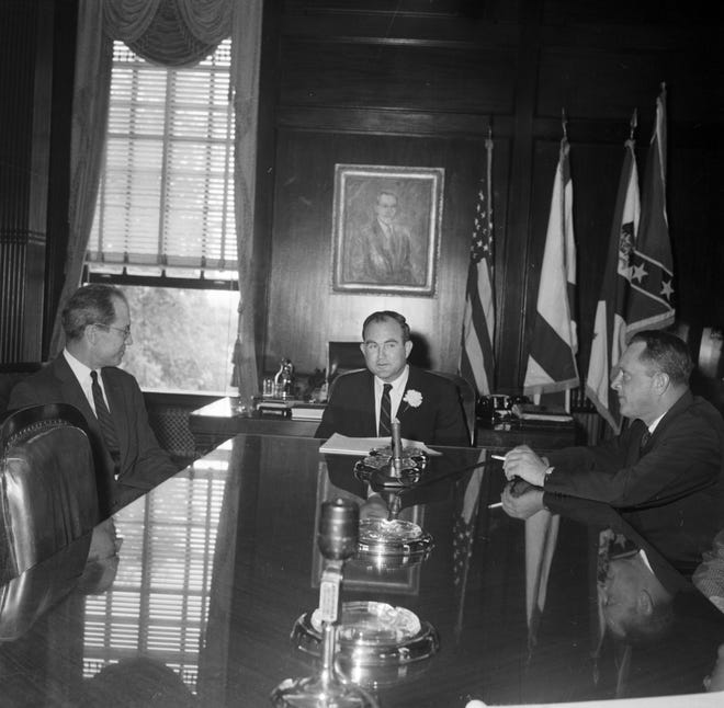 Alabama Gov. John Patterson at a meeting with two men during the Freedom Riders' stay in Montgomery, Alabama in May 1961.