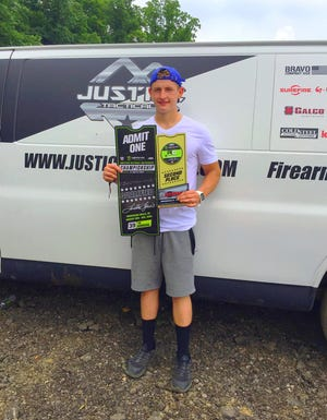 Utica graduate Hayden  Justice is shown on Father's Day at Ironman Raceway in Crawfordsville, Indiana, after he finished second in the regional 450 B class to qualify for the AMA Amateur Motocross National Championship.