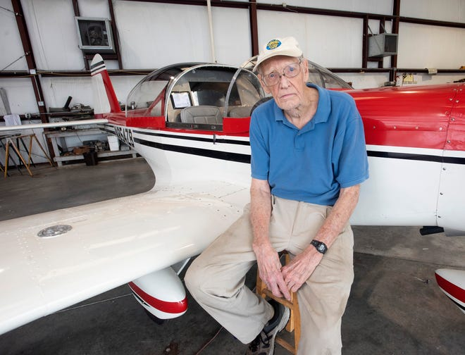 Pensacola resident David Thatcher has turned his love of aviation into the designing and building of his aircraft. Thatcher recently shows off his latest creation, kept in the Pensacola Navy Flying Club Hangar.
