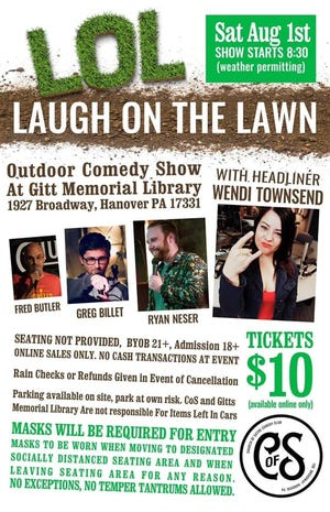A promotional flier for the Laugh on the Lawn program advertises a show happening this Saturday, August 1, 2020.