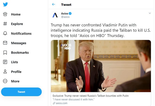 A screenshot of a tweet from Axios, sharing a clip of an interview with President Donald Trump.