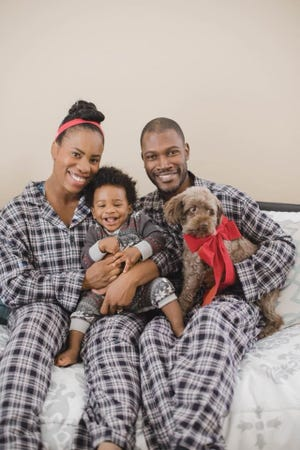 Jessica and Tavious Peterkin with their son, who is 3 years old.