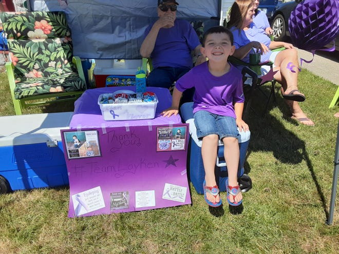 Layken Schultz, 4, held a lemonade stand to raise funds for the Chelsea Hutchison Foundation, an organization that provides support for people with epilepsy - especially children and young adults. Layken himself has epilepsy, and won a trip to Disneyland through the fundraising effort.