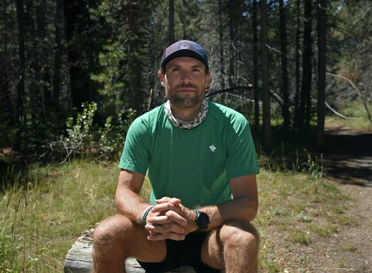 Professional ultrarunner Adam Kimble poses for a photograph on July 29, 2020. Kimble recently broke a world record when he ran the 171 mile Tahoe Rim Trial in 37 hours, 12 minutes and 15 seconds.