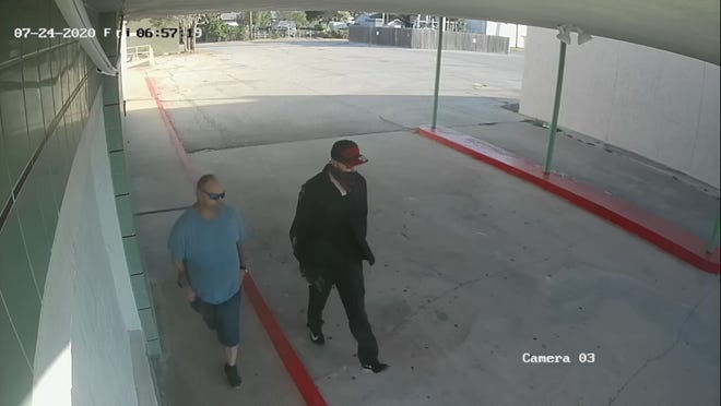 These are two of four people suspected of breaking into the Angelo Civic Theatre, 1936 Sherwood Way, as seen on the theatre's video surveillance on Friday, July 24, 2020.