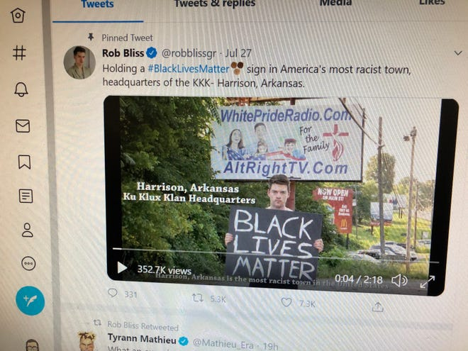 A News-Leader reporter photographed a July 27, 2020 Twitter posting about Harrison, Arkansas; Black Lives Matter and racism that was attributed to Los Angeles producer-director Rob Bliss.