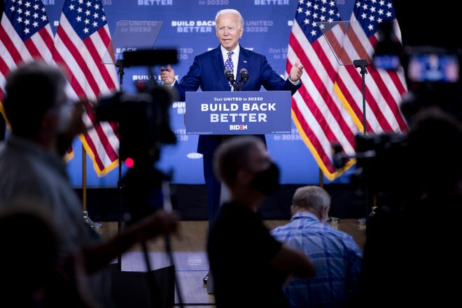 """Democratic presidential candidate former Vice President Joe Biden speaks at a campaign event at the William """"Hicks"""" Anderson Community Center in Wilmington, Del., Tuesday, July 28, 2020."""