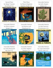 Wisconsin state park and forest annual vehicle admission stickers are designed by high school students chosen in a statewide contest.  Here are designs of the runnersup and honorable mention entries.