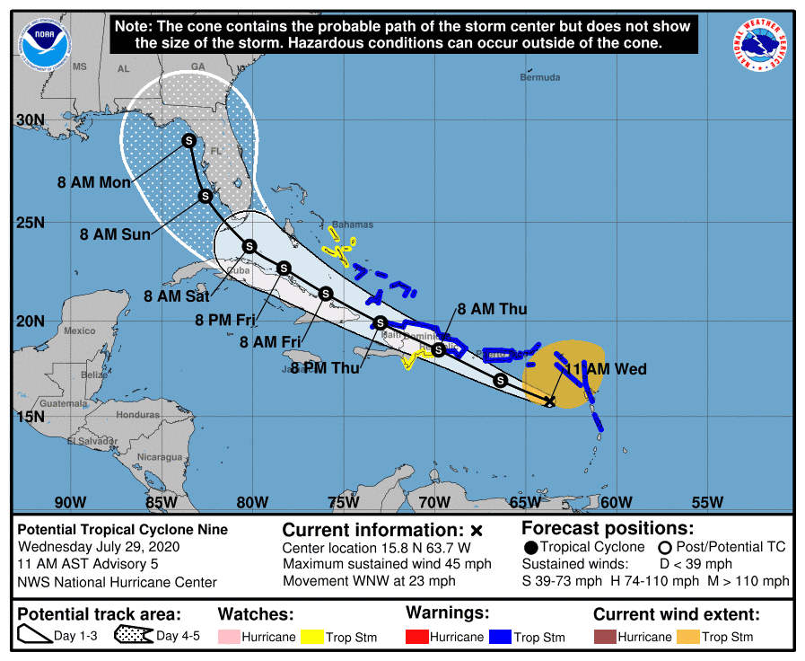 Soon-to-be Tropical Storm Isaias could impact Florida after lashing Caribbean with wind, rain