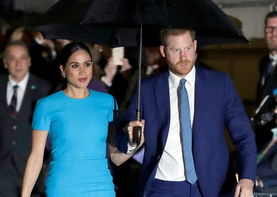 Prince Harry and Duchess Meghan of Sussex arrive at the annual Endeavour Fund Awards in London on March 5, 2020.