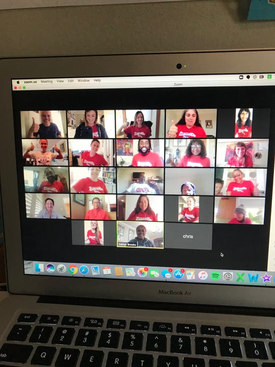 Staff members at Emerson Elementary in Oakland participate in a meeting via Zoom.  Photo submitted by Allison Grill.