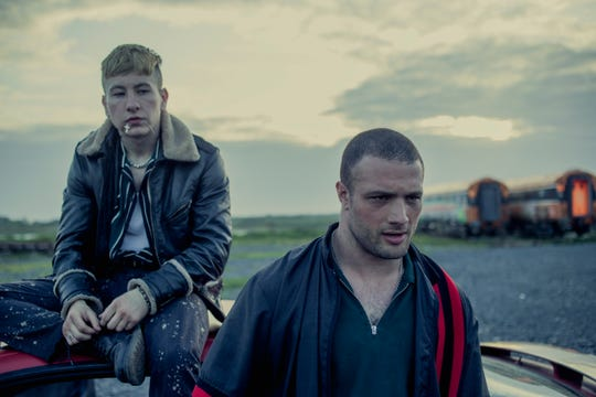 """Cosmo Jarvis (right, with Barry Keoghan) is an Irish ex-boxer who works as an enforcer for a crime family in the drama """"The Shadow of Violence."""""""
