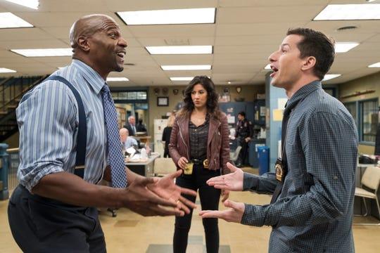 "Crews, Beatriz and Andy Samberg in a Season 5 episode of ""Brooklyn Nine-Nine."""