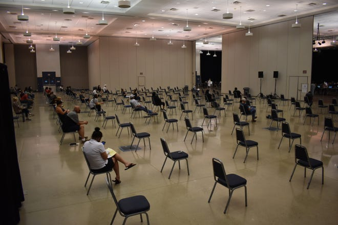 The waiting area at the Ardmore Convention Center with about a dozen people waiting for assistance with their jobless claim on Wednesday. Ardmore is the third Oklahoma city to host events meant to give face-to-face assistance to people unable to resolve problems online or by phone.