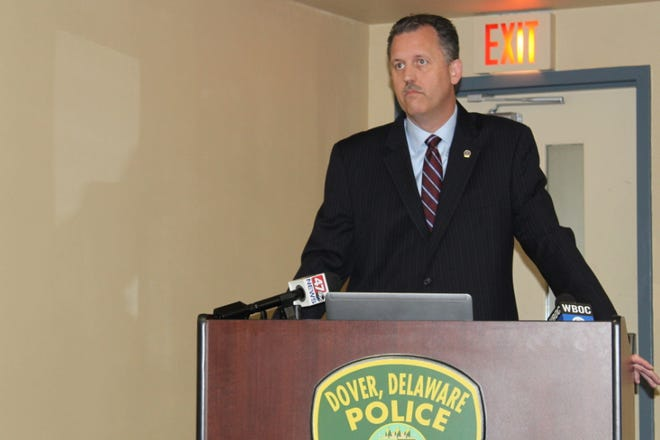 File photo of Dover Police Chief Thomas Johnson presenting a series of policy changes in a June 18 press conference. Johnson will continue to research body-worn camera programs after discussions with council members July 28.