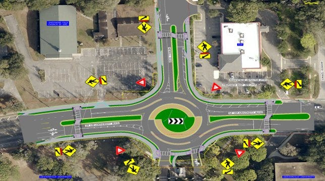 This is what the University Boulevard/Merrill Road Turbo Roundabout would look like with two lanes circling the center median. [JTA]