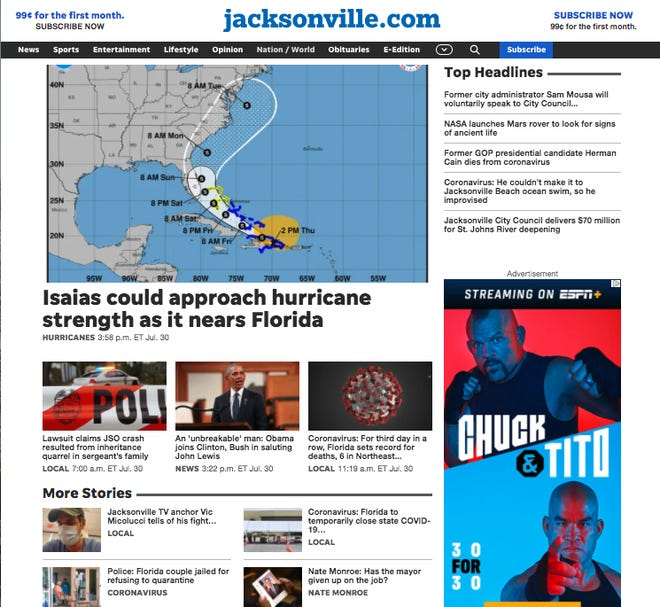 Jacksonville.com launched its redesigned website on Thursday, July 30. [The Florida Times-Union]