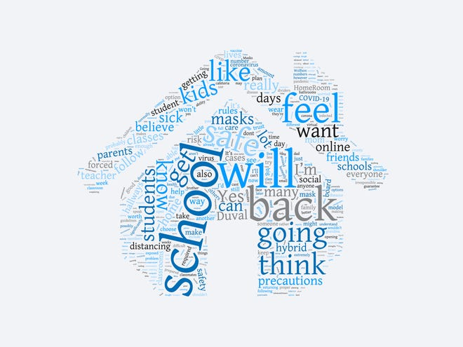 This word cloud illustrates phrases students used the most when speaking to the Times-Union about going back to school. Larger words were used most often.