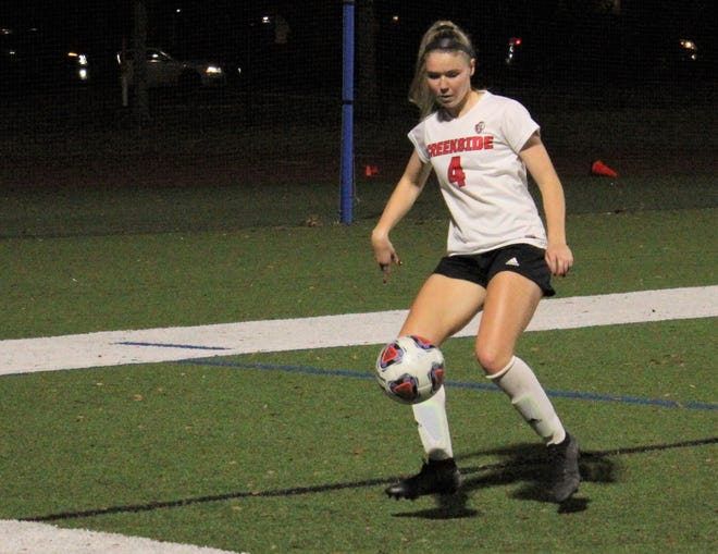Creekside midfielder Delaney Tauzel controls the ball during a January game. Tauzel, a Florida signee, was named the state girls soccer player of the year by the United Soccer Coaches. [Clayton Freeman/Florida Times-Union]